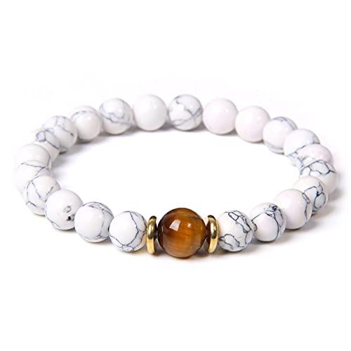 Pulseras de labradorita para hombre, pulsera de ojo de tigre pulido, brazalete de oro para mujer, joyería de moda, pulsera de piedra natural, longitud de pareja 23Cm