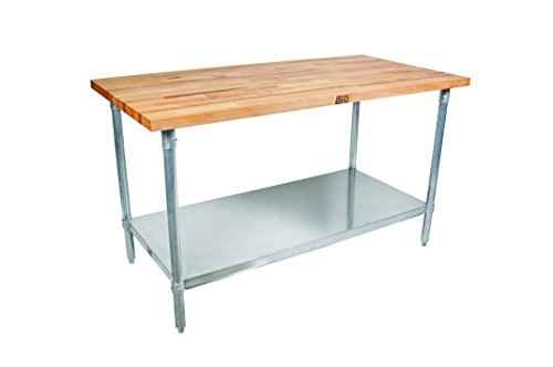 """John Boos JNS01 Maple Top Work Table with Galvanized Steel Base and Adjustable Galvanized Lower Shelf, 36"""" Long x 24"""" Wide x 1-1/2"""" Thick"""