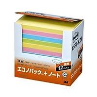 (まとめ) 3M ポストイット エコノパック ノート 再生紙 75×127mm 混色 6551-K20 1パック(12冊) 【×2セット】 ds-1575745