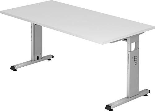 bümö® Stabiler Schreibtisch höhenverstellbar 160 x 80 cm | Bürotisch in Weiß | Büroschreibtisch mit Höheneinstellung | Tisch für Büro in 9 Größen & 7 Dekoren