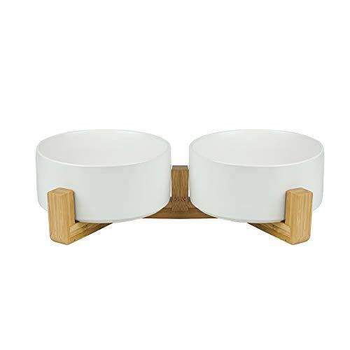 HCHLQLZ Bianco Ceramica Ciotole per Cani Gatti Ciotola Cane Gatto per Cibo Acqua -Combinato con Supporto in bambù-Confezione da 2