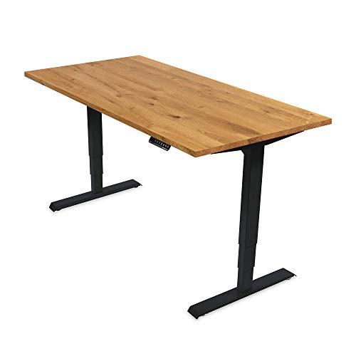 Ergotopia® Elektrisch höhenverstellbarer Schreibtisch | 5 Jahre Garantie | Ergonomischer Steh-Sitz Tisch mit Memory Funktion | Beugt Rückenschmerzen vor & Macht produktiver (160x80 S, Echtholz Eiche)