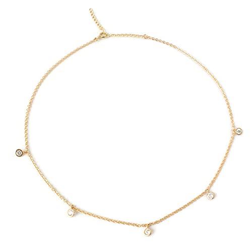 14k Gold OFFicial site Dainty Choker Necklace with f Bezel Pendants Diamond CZ Topics on TV