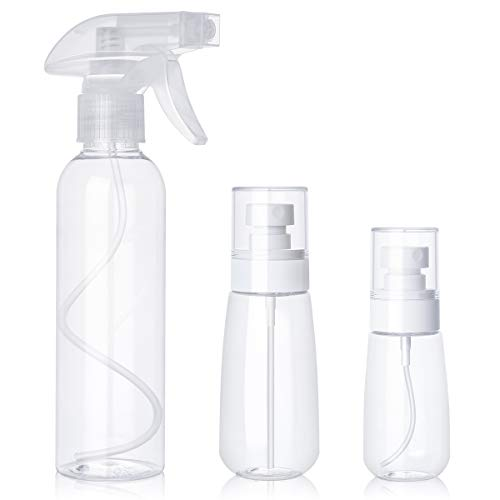 Empty Spray Bottles 8 Oz 3 Pack PHYSEN 8.8/3.5/2 oz Fine Mist Refillable Plastic Spray Bottle Hair Travel Bottles Makeup Cosmetic Containers for Cleaning Solutions, Air Freshening & Gardening