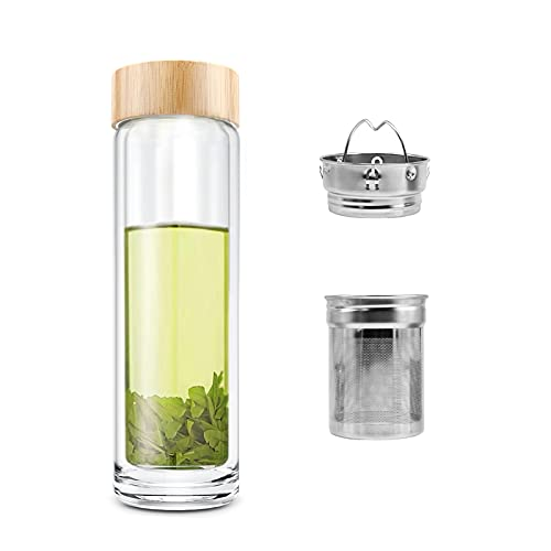 Comi Double Wall Glass Borosilicate Bamboo Lid Water Bottle with Infuser & Strainer 400ml/14oz