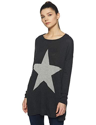 ONLY Damen onlREESE L/S KNT Pullover, Grau (Dark Grey Melange Detail:W. Lgm Star/Silver Studs), 36 (Herstellergröße: S)
