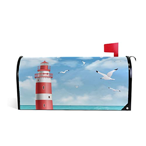 DOSHINE Seagull Ocean Leuchtturm Briefkasten-Abdeckung, magnetisch, Briefkasten-Abdeckung, Übergröße 63,5 x 53,3 cm, Heimdekoration