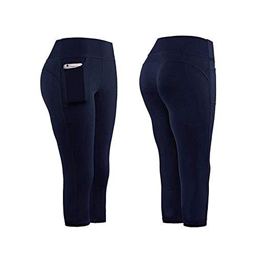 TiA Mallas De Entrenamiento Mujer Deportivas De Mujer Pantalones Elásticos De Yoga con Bolsillos Laterales, Mujer Yoga De Alta Cintura Elásticos Y Transpirables