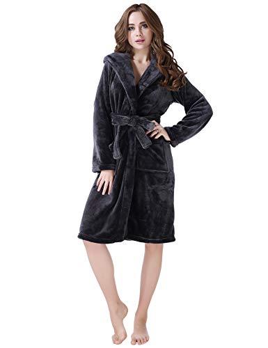 Richie House Womens Fleece Medium Robe RHW2233(Grey)-A-S