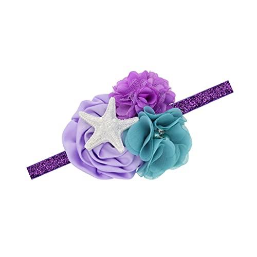 Starfish Crown Headband Girls Sea Star Birthday Tiara Mermaid Crown Hair Band BBG15 (Purple Headband)