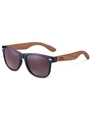 Amexi Herren & Damen Sonnenbrille, hochwertige Holzsonnenbrille UV400 CAT 3 CE (Braun)