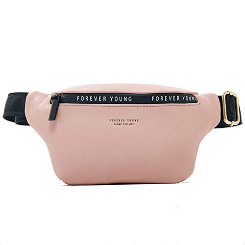 Coopay - Bolso de cintura para mujer, hombre, niña, unisex, piel sintética, impermeable, original, color portátil, ajustable, bolso para viajes, senderismo, camping, color rosa