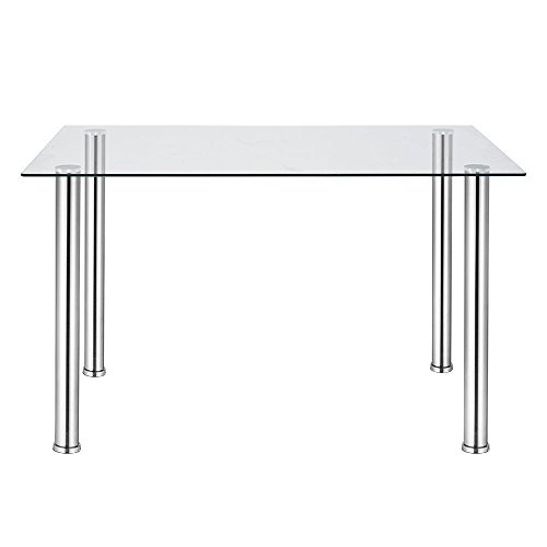 Joolihome Glass Dining Table Modern Rectangle Table with Metal Legs for Dining Room Kitchen Furniture