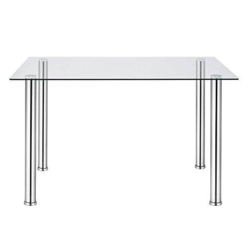 Joolihome - Mesa de comedor de cristal rectangular moderna con patas de metal para comedor y cocina