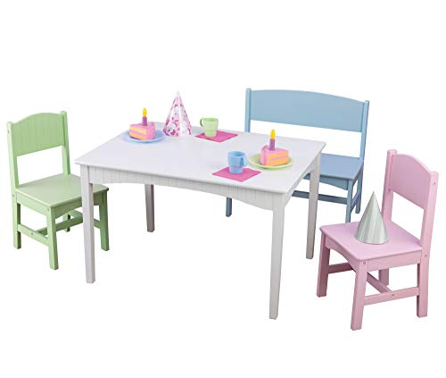 KidKraft Nantucket Wooden Table with Bench and 2 Chairs, Multicolored, Children's Furniture - Pastel, Gift for Ages 3-8