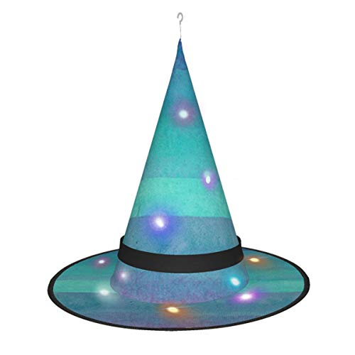 TJNMU Halloween Witch Hat With Led Color Lamp For Party Carnival Masquerade Cosplay Costume Garland, Blue, Mirror, Red, 1 Pcs