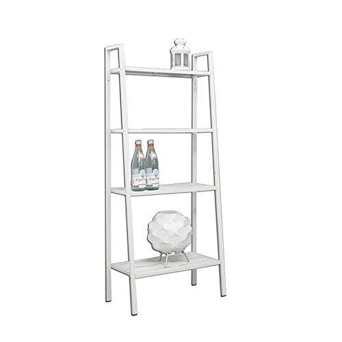 JCNFA planken 14/23 Inch Ladder Boekenplank, 4-laags Metalen plank, Woonkamer Opslagruimte, Decoratieve Display Stand, Raster Laag Laminaat, Metalen Bakproces, 2 Kleuren 13.77 * 13.77 * 58.26in Zwart