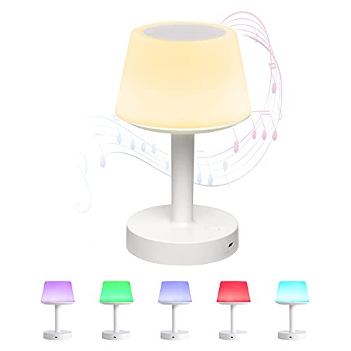 Leelike LED Lampada da tavolo con altoparlante Bluetooth, lampada da comodino con controllo touch 3...