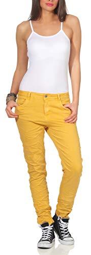 Karostar Damen Jeans Stretch Hose Chino Boyfriend Pants Hüftjeans 62 (46, Senf)