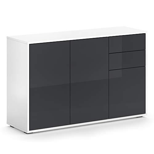 Vicco Kommode AVOLA Sideboard Mehrzweckschrank Schrank Hochglanz (Weiß Graphit, 116 cm)