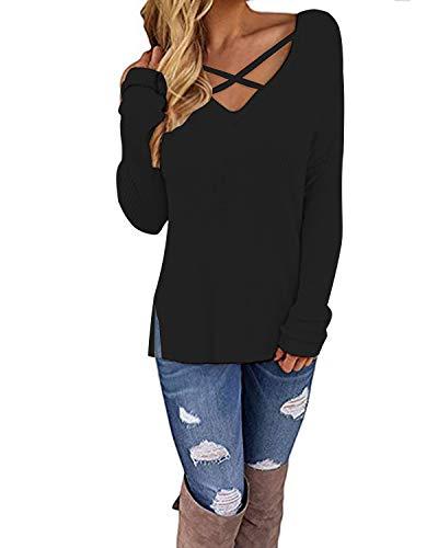 CNFIO damska bluzka z długim rękawem / krótkim rękawem z odkrytymi ramionami, sweter bluzka, dzianinowe swetry na co dzień, krzyż, T-shirt