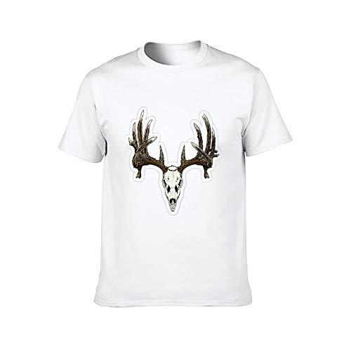DKISEE Horn Bone - Camiseta de manga corta para hombre ComfortSoft, color blanco