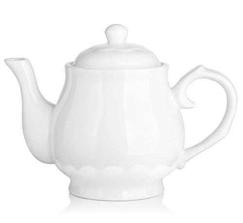 DOWAN Porcelain Teapot, 40 Ounces White Fine Pierced Ceramic Tea Pot