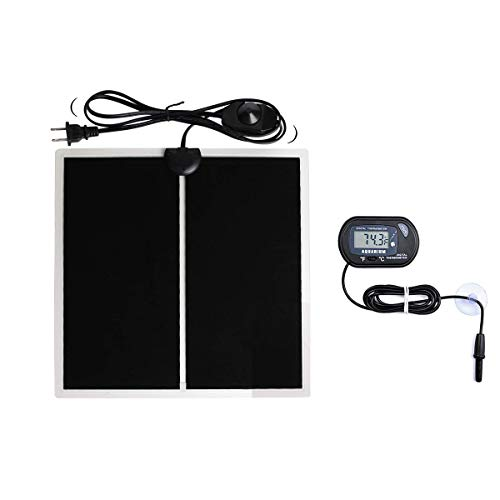 MQ Reptile Terrarium Heat Pad with LCD Digital Thermometer, 5.5 x 6in Power Adjustment Under Tank Heater Mat for Pets, Small Animals, Seedling, 5W