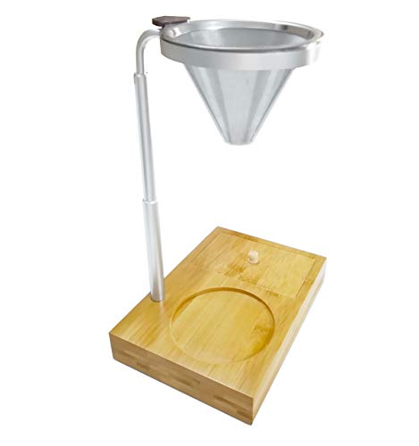 Pour Over Coffee Station,with Bamboo Wood Base Stand,Brewer Camping Coffee Maker,Coffee Dripper,Paperless and Reusable Adjustable Height,Produces Flavorful Cups of Cafe Quality Coffee,Aluminum Alloy.