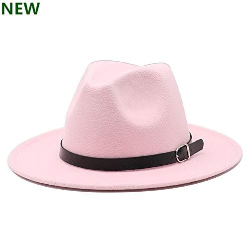 Hombres Fedoras Moda Mujer Jazz Sombrero Verano Primavera Gorra Casual al Aire Libre Sombrero X XL-PINK-1-56-58CM