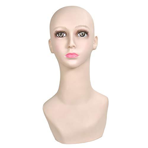 Tête de mannequin féminine réaliste ton chair pour perruques, chapeaux, bijoux, colliers