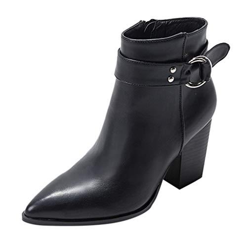 serliy😛Damen Stiefelette Mode Groß Spitz Dick Gefütert Schneestiefel Bequeme Schuhe Blockabsatz Outdoor Ankle Boots High Heels Schuhe