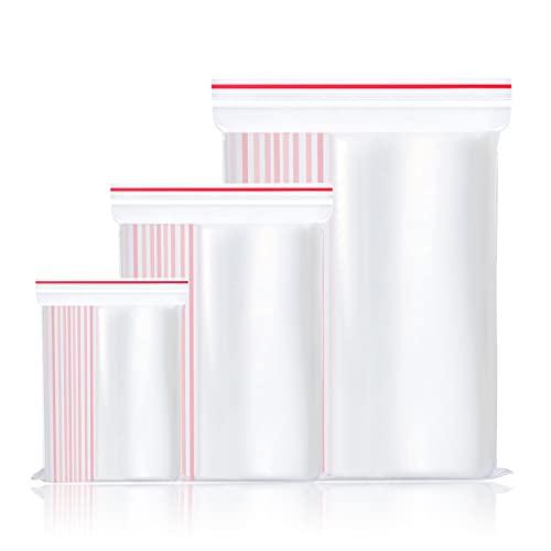 RoxNvm Bolsas de Plástico Resellables, Pequeñas bolsas de plástico transparente, 300 bolsas con cierre hermético resellables para joyería, cuentas artesanales, almacenamiento de vitaminas, 3 tamaños