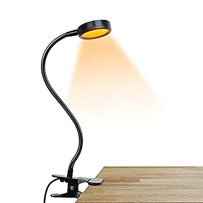 Vekkia Clip on Amber Book Light,Blue Light Blocking,3 Color x 3 Brightness,24 LED reading light, Perfect For Clip On Desk, Bed Headboard And Computer(black)