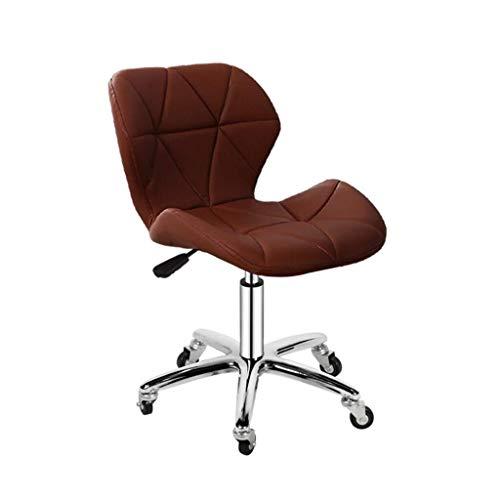WWW-W-DENG barkruk, draaibaar, kantoor, stoelen, PU-leer, verstelbaar, barkruk met wielen en achterkant, bureaustoel, bruin, barkruk