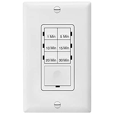 Enerlites HET06A-White 1-5-10-15-20-30 Minutes Preset In-Wall Countdown Timer Switch, w Decorator Wall Plate, White