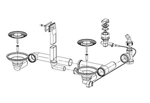 Ab- und Überlaufgarnitur für die FRANKE Einbauspüle DIANA DIX 651 mit Integralablauf ab Baujahr 2002 / Ersatzteil Spüle / Ablaufgarnitur