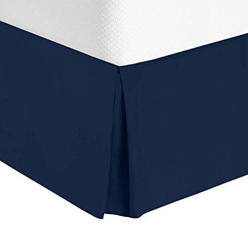 Nestl Bedding Bed Skirt - Soft Double Brushed Premium Microfiber Dust Ruffle - Luxury Pleated Dust Ruffle, Hotel Quality Sleek Modern Bed Skirt, Easy Fit with 14 in Tailored Drop, Queen, Navy