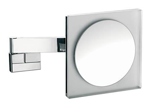 Emco Kosmetikspiegel eckig, mit Beleuchtung, dimmbar, Badspiegel mit Gelenkarm, 5-fach vergrößert – 109606004