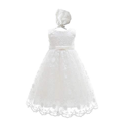 Leideur Baby Lange Taufkleider weiß Taufe Kleid besondere Anlässe Kleider für Mädchen Geburtstag (24 Monate, Weiß 3)