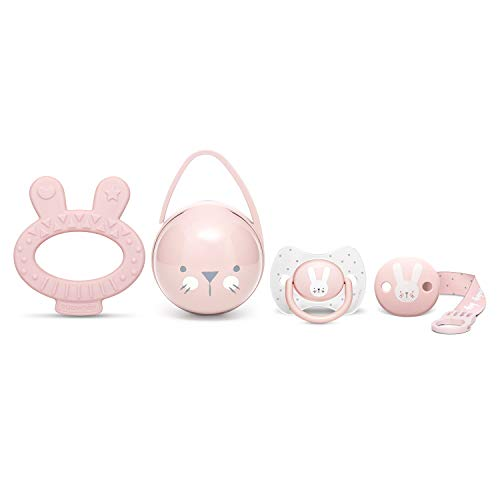 Suavinex Set Premium Recién Nacido con Chupete fisiológico silicona 0-6 meses, Broche, Portachupetes y Mordedor, rosa