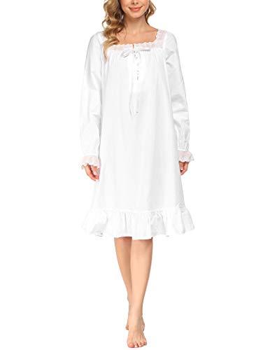 Avidlove Damen Nachthemd Langarm Baumwolle Schlafanzug Viktorianisch Nachtkleid Lang Nachtwäsche Vintage Nightdress Sleepwear Pyjama weiß-kurz XL