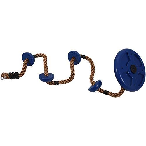 Fltaheroo Jungle Gym - Cuerda de escalada con plataformas y disco escobilla, para Seat Fitness Balan?Oire Set Accesorios Niños Balan?Oar Asiento Azul