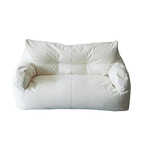 LDIW Funda De Puff Bean Bag Kit de Sillónes de Hinchables (sin Relleno) Reclinable Exterior e Interior Tumbona Perezosa para Adultos y Niños,Blanco