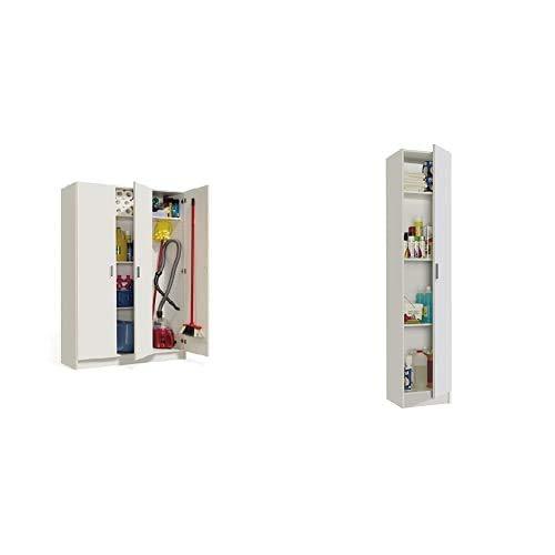 Habitdesign 007143O - Armario Multiusos 3 Puertas, Color Blanco, Dimensiones 109 cm (Largo) x 180 cm (Alto) x 37 cm (Fondo) + Kawai 1 007141O - Mueble Armario Multiusos, 1 Puerta, Color Blanco