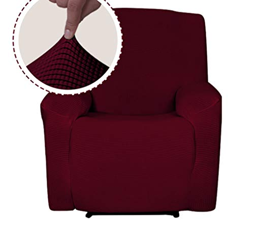 Sapphire Home Recliner Chair SlipCover Shield, Form-fit Stretch, Wrinkle Free, Protector Cover for Recliner, Remote Pocket, Polyester Spandex Fabric, Checked Pattern Solid Non-Slip, Burgundy