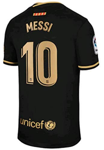 2020-2021 Season Men's Away Soccer Jersey/Short Colour Black (Barcelona Messi #10 (S))