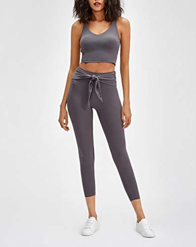 AOZLOVEC Leggings deportivos elásticos para entrenamiento de yoga, mallas deportivas para gimnasio suaves para mujer, pantalones XS-4 ShallowLotusAsh