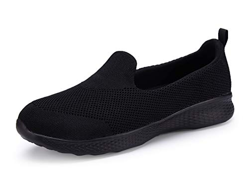 Women Slip-On Shoes Walking Loafer Sneakers Comfortable with Memory Foam Insole (9.5, Black)