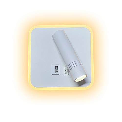 uksunvi Lampada da parete a LED, 9W applique da lettura da comodino con porta di ricarica USB, faretto orientabile, (Luce bianca calda da 6W 3000K) + (Luce bianca da 3W 6500K) piazza